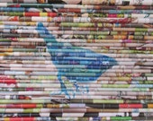 "Modern recycled art, Modern wall art, Rolled paper art, Upcycled magazine images, mixed media fine art, ""Blue Bird"""