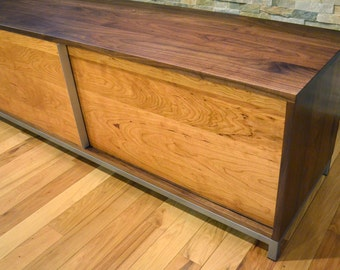 Walnut and cherry wood and steel entertainment center