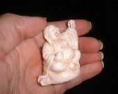 Miniature Travel Ho Tai Buddha Statue for Abundance Luck and Happiness in Faux Ivory