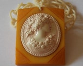 Bakelite Cameo Necklace Butterscotch Cream LOVELY