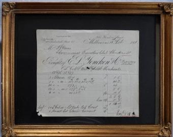 Invoice antique Melbourne 1890s Glass Merchant