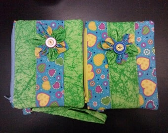 2 Wristlet  Zippered pouch / Clutch for 2