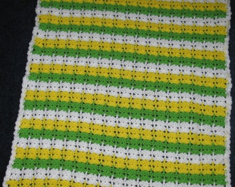 Sale - 28 x 36 Crocheted Green, Yellow and White Baby Afghan / Blanket / Throw