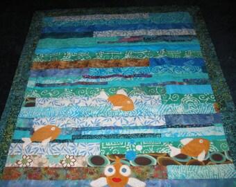Fish Quilt Toddler blanket  Baby blanket  Lap quilt