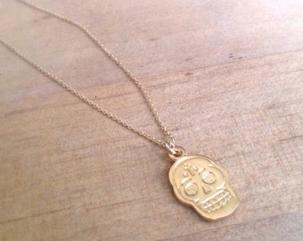 Skull Necklace - Gold Necklace - 24K Gold Vermeil - Gold Jewelry - Everyday - Dainty - Simple