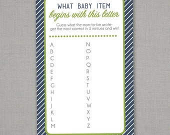 Printable Name The Baby Item A - Z - Baby Shower Game Download