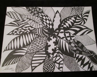 Trio of abstract Scribble art flowers. These pictures are each drawn with black felt tip or fine tip pens, and are suitable for framing.