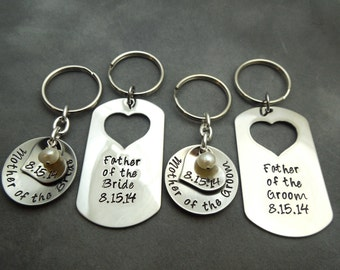 Mother of the Bride/ Groom, Father of the Bride/Groom, set of 4 keychains
