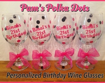 Personalized BIRTHDAY WINE GLASS with Name & Wording Polka Dots Great Birthday Party Gift Girls Night 21st