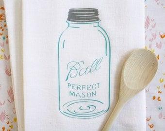 Tea Towel Blue Vintage Mason Jar Tea Towel Flour Sack Towel Kitchen Cotton Towel Home Decor Gift