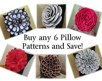 Decorative Pillow Patterns - Buy Any 6 Flower Pillow Patterns with 2 Bonus Pillow Cover Patterns and SAVE