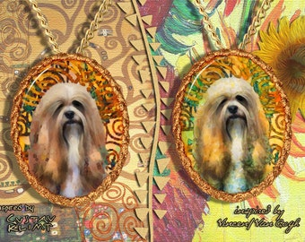 Lhasa Apso Jewelry Pendant - Brooch Handcrafted Porcelain by Nobility Dogs - Gustav Klimt and Van Gogh