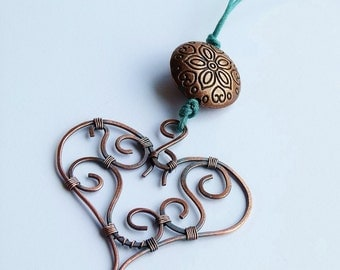 OOAK Copper heart pendant with swirls and ornamented bead
