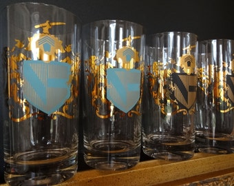 Vintage Set of 8, Coat of Arms Glassware, Federal Glass Company