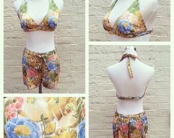Vintage 70s bikini, vintage high waist bikini, halter top bikini, 2 piece swimsuit, catalina 2 piece, floral swimsuit, floral bikini