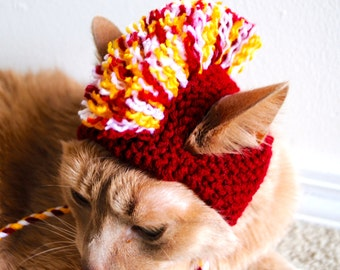 Mohawk Cat Hat - Burgundy / Red, Yellow, and White - Hand Knit Cat Costume