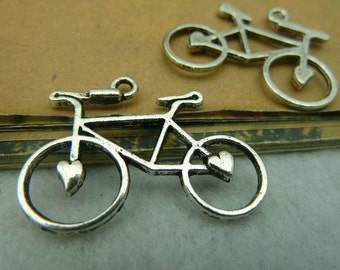 20pcs 23x30mm The Bicycle Silver White Color Charm For Jewelry Pendant C3804
