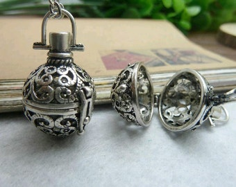 2pcs 17x28mm Silver color Wishing ball  Charm Pendant C6800