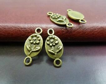 100pcs 7x16mm The Flower connect Antique Bronze Retro Pendant Charm For Jewelry Bracelet Necklace Charms Pendants C5629
