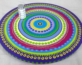 "Lazy Susan #9- Hand Painted 18"" Diameter  Mandala Pattern"