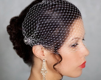 Birdcage veil, Crystal, Pearl, Russian Bandeau Birdcage Veil, Bridal Veil, Sparkle Wedding Veil, Pearl and Crystals combs STYLE 056