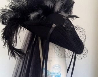 Goth Black Tricorn riding hat 'The Lady Rachel'