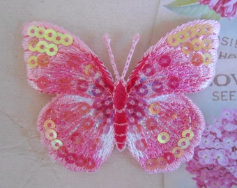 Iron-on Butterfly Pink Embroidered Sequins