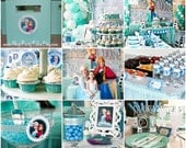 FROZEN disney princess Anna and Elsa Girl Birthday Party Printable decoration cupcake toppers water bottle labels favors invitation banner