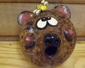 Bear Birdhouse, Bear and Bee, Gourd Birdhouse, Gourd Sculpture, Gourd Bear, Bear Humor, Cabin Decor