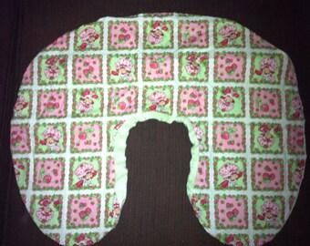 Boppy Nursing Pillow Cover with Zipper Closure Strawberry Shortcake/Light Green Minky
