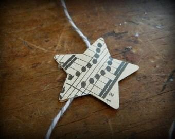 WISH - Mini Star - Vintage Music paper garland -  Circa 1930's - Recycled --upcycled music paper garland -3 feet long