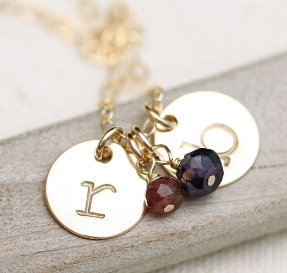 Personalized Necklace, Initial Necklace, Birthstone Necklace, Hand Stamped Gold Necklace, Stamped Initial, Gold Mothers Necklace