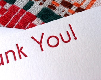 Thank you letterpress flat card - set of 8
