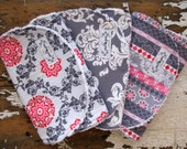 Burp Cloths Baby Girl - Pink and Grey - Floral Medallion, Scrolls and Stripe - Set of 3