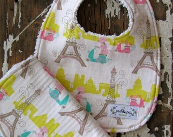 SALE Girl Bib & Burp Cloth Set - Spring in Paris Eiffel Tower with Poodles - Baby Gift Set