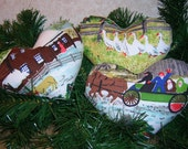 Primitive Christmas Grandma Moses Fabric Heart Tucks Heart Ornament Bowl Fillers