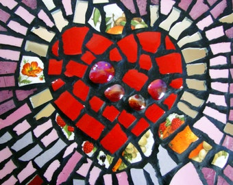 Mosaic HEART Wall Piece Wall Art Handmade Home Decor Romantic Gift women men grandparents Retro Arts & Crafts Made by  master mosaic artist