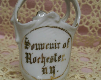 Rochester NY Souvenir Porcelain Basket 1920s Made in Germany Antique