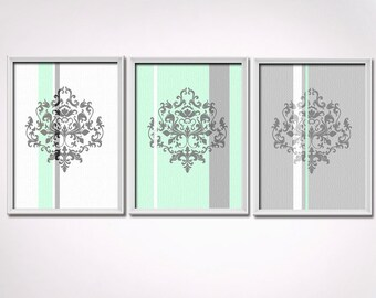 Sea Green and Gray Art Print Set, 3 prints 8x10 each, Damask Wall Art