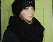 Super BULKY Winter Set -  Handknit Women/Teen Hat and Tube Scraf Set  - Slouchy Hat and Chunky Tube Scarf in black