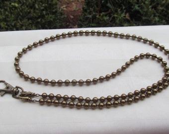 Brass Pearl ID Badge Lanyard Swarovski Pearl Beaded Lanyard Antique Brass Lanyard Necklace ID Badge Holder