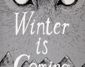 Winter Is Coming- Game of Thrones-inspired House Stark A4 art print- direwolf