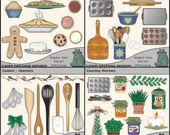 Kitchen Clipart Bundle, Baking Clipart, Cooking Clipart, Food Clipart - Digital Scrapbooking Kit