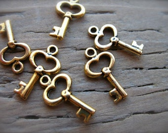 10 Tiny Gold Skeleton Key Charms 16mm
