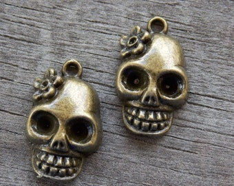6 Bronze Skull Charms 22mm Antiqued Bronze
