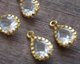 6 Faceted Clear Crystal Charms in Brass Settng  15mm