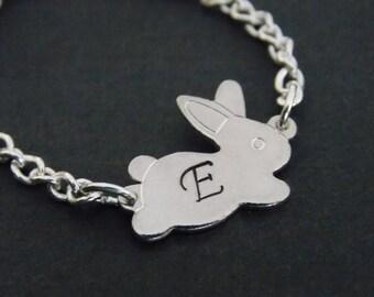 Silver Bracelet, Rabbit Bracelet, Initial Bracelet, Bunny Bracelet, Silver, Personalized, Bunny Charm, Tiny, Animal Jewelry, Friend Gift