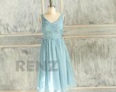 2016 Light Blue Bridesmaid dress, Wedding dress, Chiffon Party dress, Formal dress, Prom dress, Evening dress knee length (B059C)