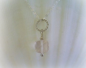 Pendant Necklace Jewelry - Rose Quartz Pendant - Faceted 3D Cube - Sterling Silver - Jewelry Set - Genuine Gemstone Jewelry
