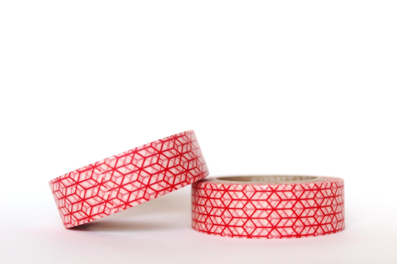 Red geometric washi tape for Geometric washi tape designs